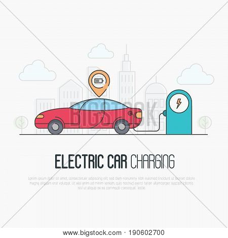 Electric red car with charging battery pointer and charging station on megapolis background. Thin line vector illustration.