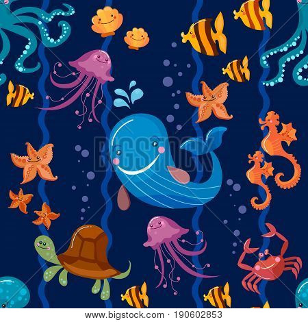Sea animals seamless pattern octopus fish whale jellyfish turtle crab cartoon Cute Sea life seamless background vector
