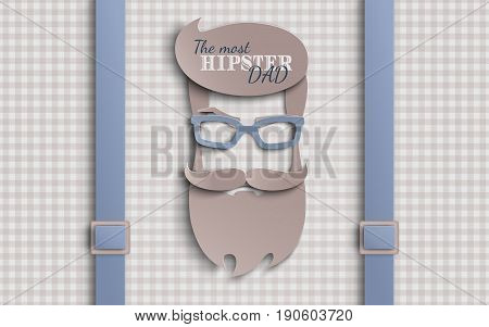 Happy Fathers Day card design for male event banner or poster. Checkered beige background with suspenders paper cut hipster men's face silhouette with beard mustache glasses. Vector illustration