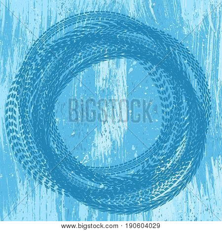 Ice background with water drops and tire tracks