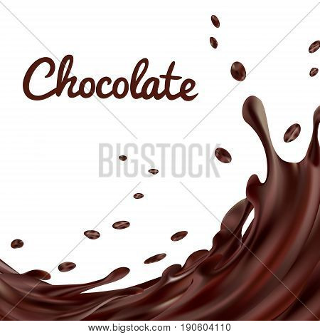 Chocolate splashes background. Brown hot coffee or chocolate with drops and bolts isolated on white background, vector 3d illustration.