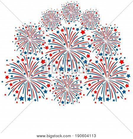 Red and blue fireworks isolated on white background