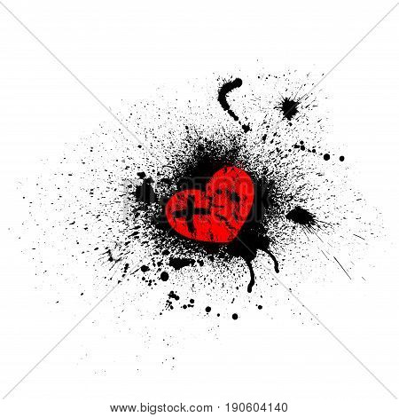 White background with black ink blots and red heart symbol