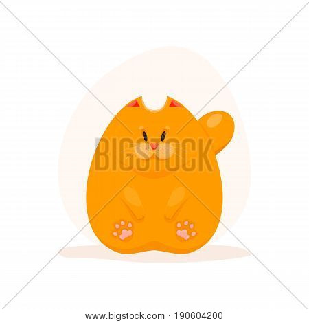 Vector illustration of cute fatty ginger cat