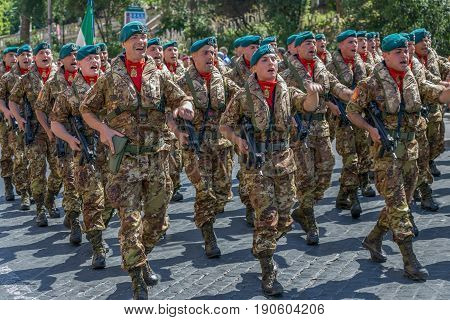 ROME ITALY - JUNE 2 2017: Military parade at Italian National Day. Soldiers in formation. Picture is taken between Piazza Venezia and Teatro di Marcello.