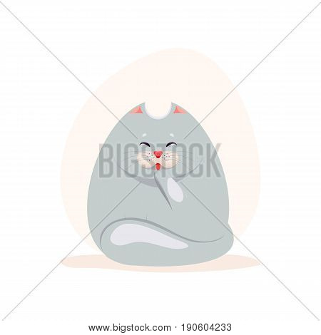 Vector illustration of cute fatty grey cat washing the paw