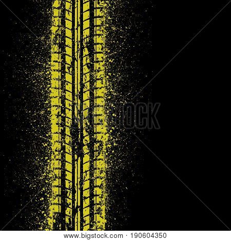 Black bsckground with yellow tire track silhouette