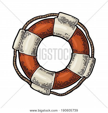 Lifebuoy with rope isolated on white background. Vector color vintage engraving illustration for tattoo, web and label. Hand drawn in a graphic style.