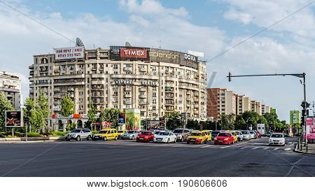 BUCHAREST, ROMANIA - MAY 13 2017: Scenes from the downtown of Bucharest, capital and largest city of Romania and its cultural, industrial and financial centre located on the Dambovita River.