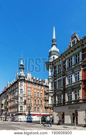 GLIWICE, POLAND - MAY 1, 2017: View of Victory Street (ulica Zwyciestwa), the most prestigious avenue in town, full of many shops, entertainment places and the seat of municipal authorities.