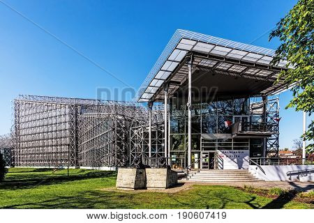 GLIWICE, POLAND - MAY 1, 2017: Municipal Palm House set up around 1880, now located in a modern building. The exposition includes many species of plants and animals as turtles, reptiles, exotic birds.