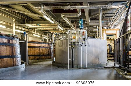 GLENBEG, ARDNAMURCHAN SCOTLAND - MAY 26 2017 : Ardnamurchan distillery is producing whisky since 2014 and actually expanding their warehouses in Glenbeg