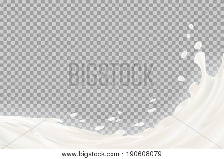 Milk splash with shadow over transparent background. vector 3d illustration