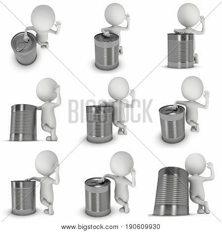 Man stand near aluminium can set. 3D render of metal canned food isolated on white.