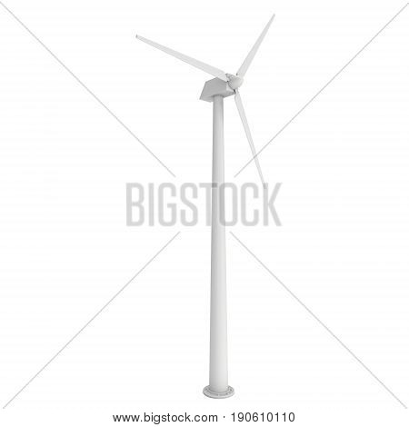 Wind turbine with propeller. Windmill generator 3D render isolated on white