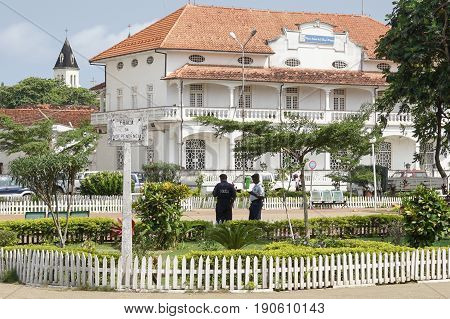 SAO TOME, SAO TOME AND PRINCIPE - FEBRUARY 9, 2017: Colonial buildings in Sao Tome city on February 9, 2017 in Sao Tome and Principe, Africa