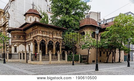 BUCHAREST, ROMANIA - MAY 13, 2017: Stavropoleos Monastery built in 1724 in Brancovenesc architectural style, an Eastern Orthodox monastery for nuns dedicated to St. Archangels Michael and Gabriel.