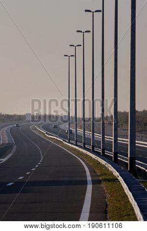 Lampposts on Croatian highway A1 near dalmatian coast