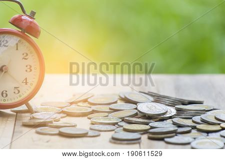 Saving account and money finance bank for prepare concept Row of coin stack growing business.