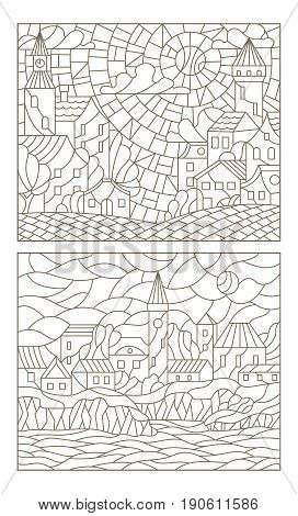 Set contour illustrations of the stained glass Windows with city scenery