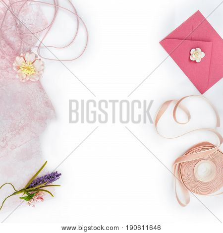 beautiful set of vintage pale pink materials for scrapbooking craft isolated on white paper. Copy space.