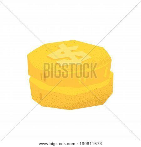 Cartoon style grunge western dollar coins isolated vector illustration