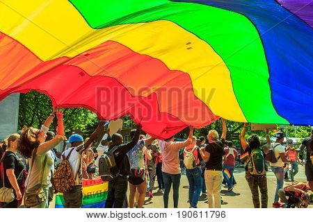 The Hague the Netherlands - June 10 2017: Pride walk The Hague