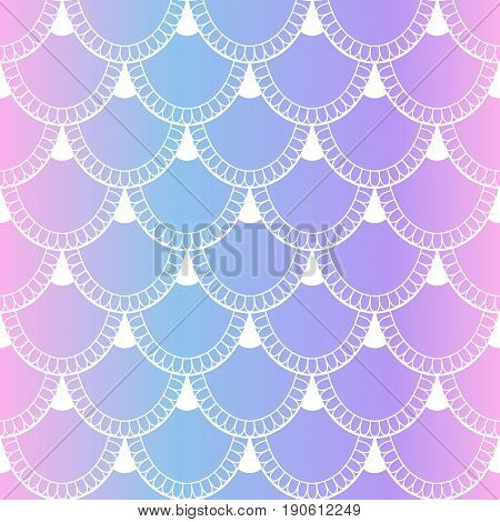 Seamless Pattern Of Fish Scales. Fish And Mermaid Scales On Light And Tender Background. Beautiful B