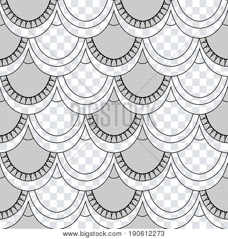 Seamless Pattern Of Fish Scales. Light Gray Universal Fish And Mermaid Scales On A Transparent Backg