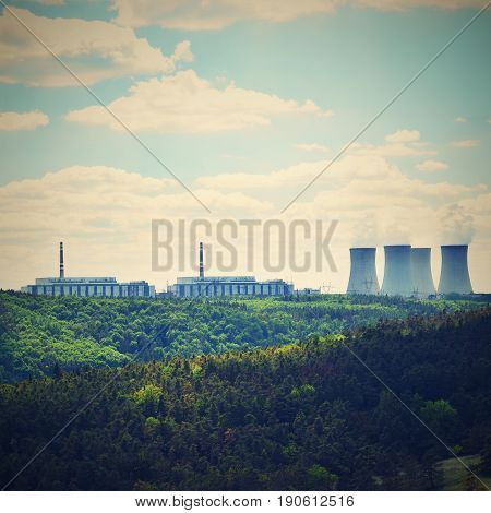 Nuclear power plant Dukovany. Czech Republic Europe. Landscape with forests and valleys.