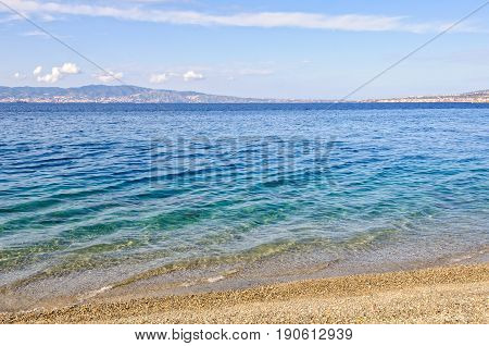 Island of Sicily on the other side of the Strait of Messina - Reggio di Calabria, Italy