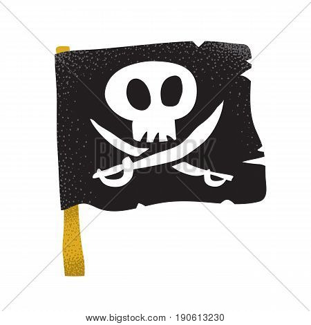 Cartoon style grunge traditional black pirate flag with white skull and swords isolated vector illustration