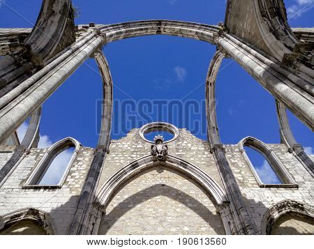 Open roof of Igreja do Carmo ruins in Lisbon Portugal.