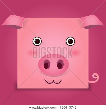 Vector image of a pig head on pink background