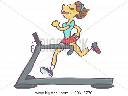 Cute vector cartoon of woman jogging on running machine, isolated