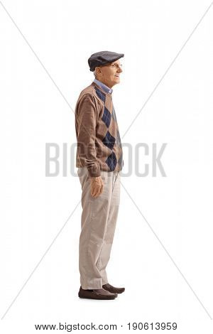 Full length profile shot of a mature man waiting in line isolated on white background