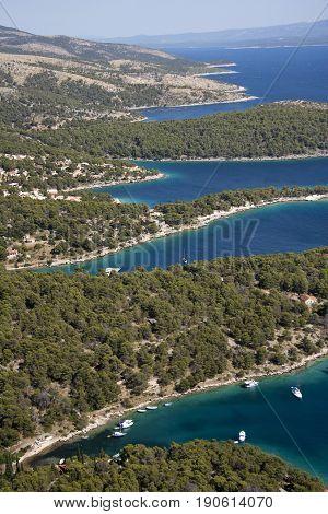 Calm coves on southwest of island Brac in Croatia