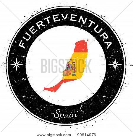 Fuerteventura Circular Patriotic Badge. Grunge Rubber Stamp With Island Flag, Map And Name Written A