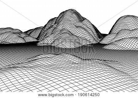 Wireframe landscape vector background. Cyberspace grid technology illustration on white