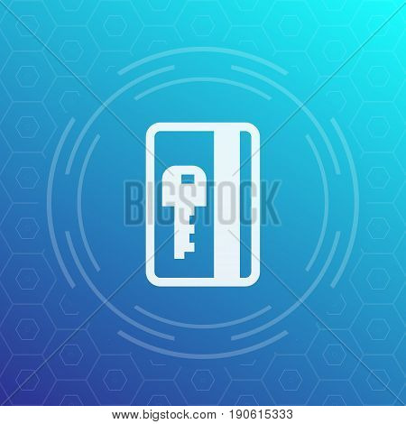electronic pass, plastic card key icon, eps 10 file, easy to edit
