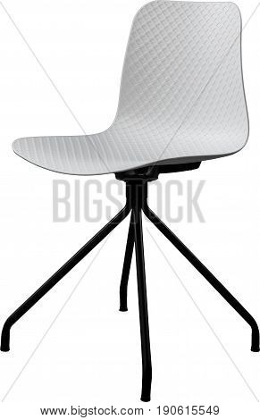 White color plastic chair, modern designer. Swivel chair isolated on white background. furniture and interior.