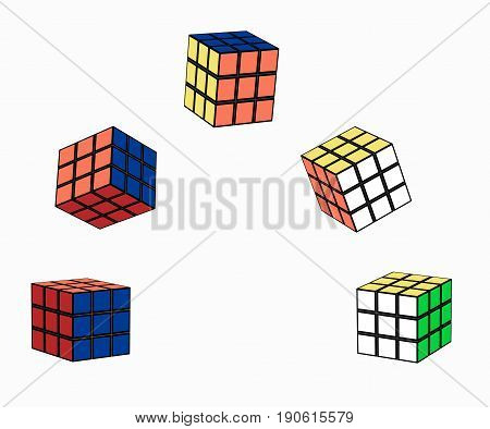 Different variants of the cube in flight. The intellectual jigsaw square 3x3. Vector illustration of puzzle. Horizontal location. Isolated on white background.