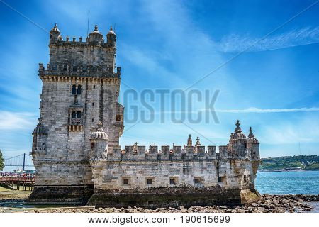 Lisbon, Portugal: the Belem tower, Torre de Belem on the bank of Tagus River