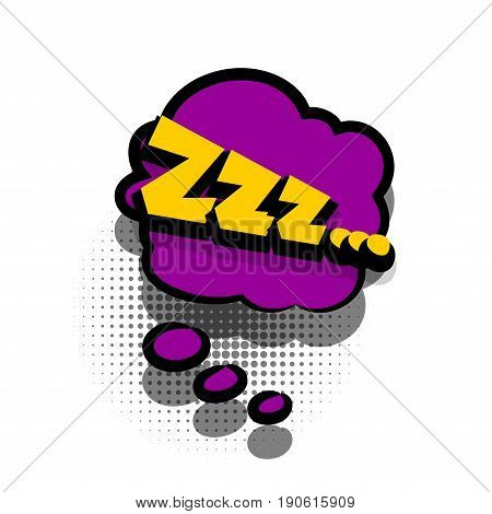 Funny Zzz sleep comic book letters cartoon text dialog colored cloud. Sale banner. Abstract creative hand drawn vector exclusive font bubble. Speech balloon halftone dot background pop art style