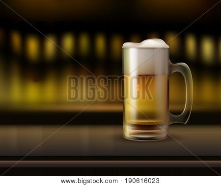 Vector big glass mug of beer on bar counter close up side view with warm blur background