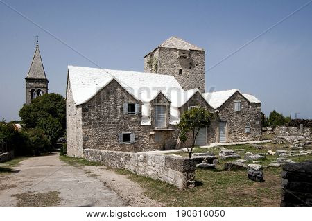 Museum of island Brac and ancient stone fragments in Skrip in Croatia