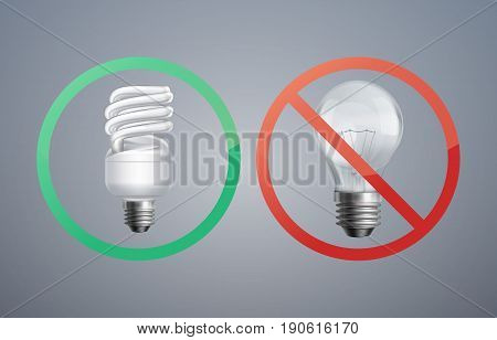 Vector illustration concept fluorescent lamp against incandescent light bulb for energy saving