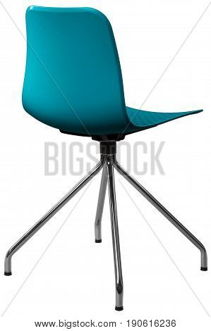 turquoise color plastic chair, modern designer. Swivel chair isolated on white background. furniture and interior.
