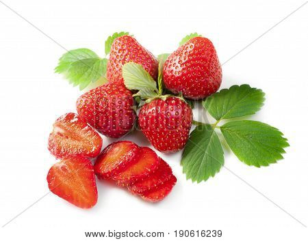 Strawberry. Sweet fruit. Fresh Red juicy fruits with leaf and sliced parts isolated on white background