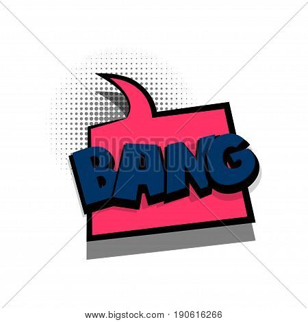 Funny BANG comic book letters cartoon text dialog colored cloud. Sale banner. Abstract creative hand drawn vector exclusive font bubble. Speech balloon on halftone dot background pop art style